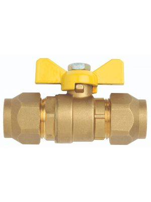 Ball Valve, Gas, Brass, Flared (incl nuts), Butterfly Handle,  Ni plate 5/16'' SAE