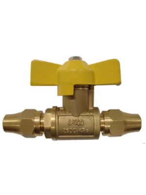Ball Valve, Gas, Brass, Flared (No nuts), Butterfly Handle,  Ni plate 5/16'' SAE