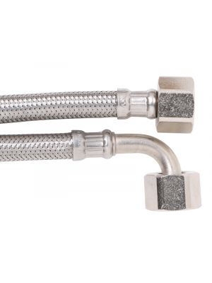 """8mm SS PEX Water Hose 1/2"""" F x 1/2"""" F Elbow Connector 150mm"""
