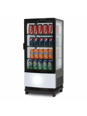 CT0080G4BC Curved Glass 82L LED Countertop Beverage Chiller