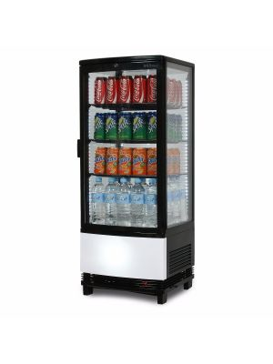 CT0100G4BC Curved Glass 96L LED Countertop Beverage Chiller