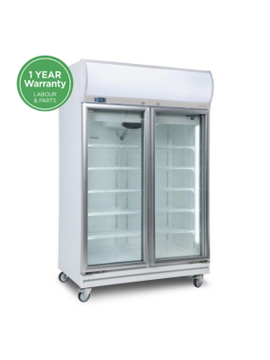 GD1000LF Flat Glass Door 976L LED Upright Display Chiller