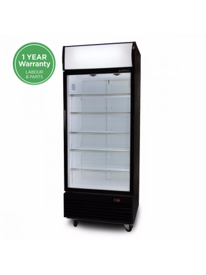 GM0660LB LED ECO Flat Glass Door 660L Upright Display Chiller with Lighbox (Black)