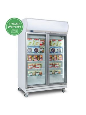 UF1000LF Flat Glass Door 976L LED Upright Display Freezer