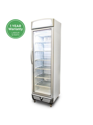 UF0374LS LED Flat Glass Door 300L Upright Display Freezer with Lightbox